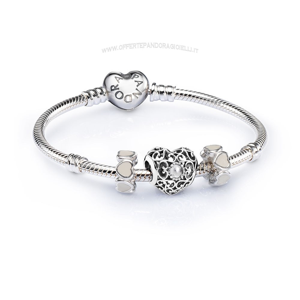 Gioielli Pandora April Signature Heart Birthstone Charm Bracelet Scontati